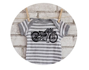 Vintage Motorcycle baby bodysuit, Grey and White Striped Cotton Infant Creeper, One Piece Snapsuit,  great baby shower gift, motor bike top