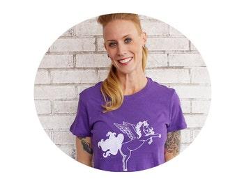 Pegasus Tshirt, Bright Purple Hand Printed, Pegacorn, Unicorn, Lightwieght Cotton Vintage Style Tshirt, Jewel Tone,Amethyst, Junior Clothing