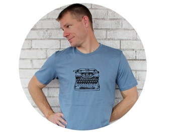 Vintage Typewriter Tshirt Men's Cotton Crewneck Graphic Tee Shirt Hand Printed With Antique Royal Brand Type Writer Stormy Blue Short Sleeve