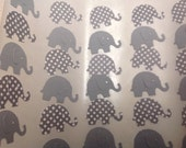 50 pc Grey and Polka Dot Paper Elephant  Stickers  Birthday Party