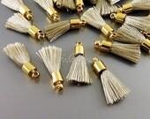 4 elegant warm gray / grey color tassels, tiny tassel jewelry charms 2049G-LTGR