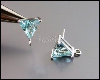 2 beautiful light aqua blue aquamarine glass crystal earrings, triangle earrings 5138R-AQ
