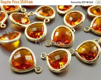 15% OFF 2 amber orange 13mm glass pendants, teardrops with bezel frame, glass charms, diy jewelry 5064G-AB-13 (bright gold, amber, 13mm, 2 p