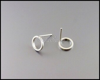 4 pcs small 8mm open circle stud earrings in matte silver, cute round hoop earrings 1071-MR-8