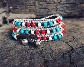 Mix Turquoise Triple Wrap Brass Bracelet