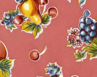 Pink Pears and Apples Oilcloth Fabric
