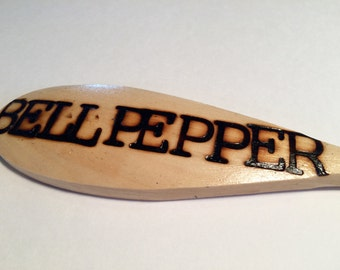 BELL PEPPER-Wooden Spoon Plant Marker