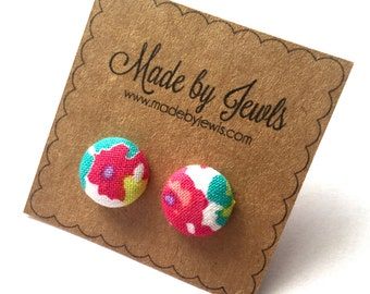 Fabric Button Earrings - Pretty Posies - Buy 3, get 1 FREE