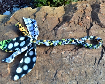 Braided Fleece Dog Toy, Multiple bright patterned fabric puppy toy