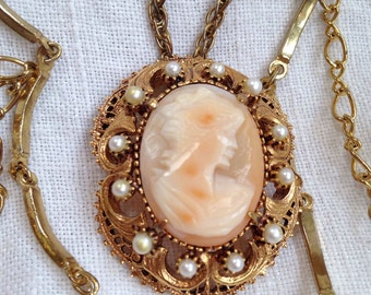 Florenza Shell Cameo Necklace Brooch 3 Chains Faux Pearls