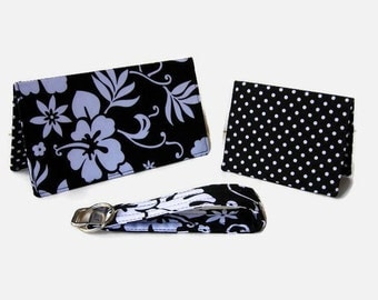 Black and White Floral Checkbook Cover, Credit Card / Business Card Holder, Key Fob - 3 Piece Set - Purse Accessory Set - Mini Wallet