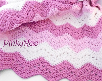 Crochet chevron Baby Blanket in two shades of rose color and white / stroller size blanket for girls