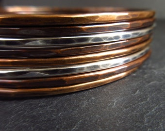 copper, bronze, sterling silver mixed bangle set,  eight skinny bangles, hammered, oxidized rustic finish, metal bracelets, ladies bangles