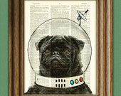 Space Pug. Captain Pugbert of the Space Patrol black dog in a space helmet illustration beautifully upcycled dictionary page book art print