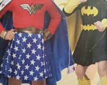 Girls Wonder Girl, Super Girl and Bat Girl Costumes---So Cute--Multi Sizes--40-70% off Patterns n Books SALE