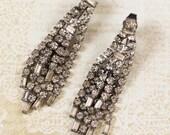 Weiss Vintage Rhinestone Long Dangling Multi Strand Silver Clip On Earrings
