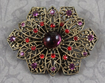 Vintage JJ Filigree Amethyst and Red Rhinestone Gold Filigree Flower Brooch