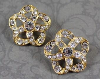Vintage Clear Rhinestone Golden Twisted Clip On Earrings