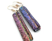 Dichroic Earrings, Dangle Earrings, Fused Glass Earrings, Pink, Blue, and Purple Lever Back Earrings