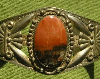 Harvey Era Southwest Sterling Silver Petrified Wood Cuff Bracelet