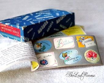 Vintage WEDDING Stickers Decal Booklet - 1950s Gummed Eureka Seals