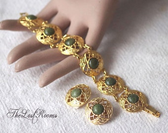 Vintage Gemstone Bracelet and Clip Earring Set Demi Parure