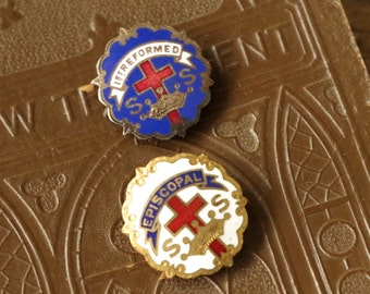 Vintage Religious Enamel Collar Pins - 2 Sunday School Episcopal Presbyterian Pins - Little's System Gold Filled