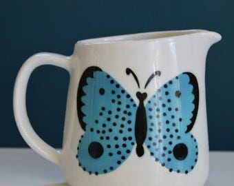 Vintage Arabia Finland Ceramic Butterfly Pitcher