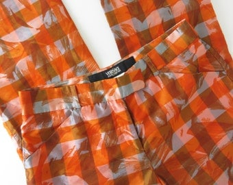 90s VERSACE Semi Sheer Trousers Cropped Orange Plaid Grid  Pants Womens Versace Jeans Couture 28 42