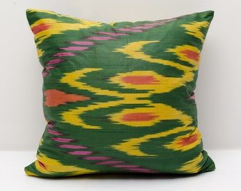 14x14 green yellow ikat pillow cover, ikat pillows, green cushion, case, cotton pillow cover, decorative pillow, green pillows, ikats yellow