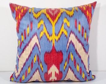 15x15 blue yellow red ikat pillow cover, blue red pillows, blue pillows, blue yellow, sofa pillows, cushions, ikats, pillows throw pillows
