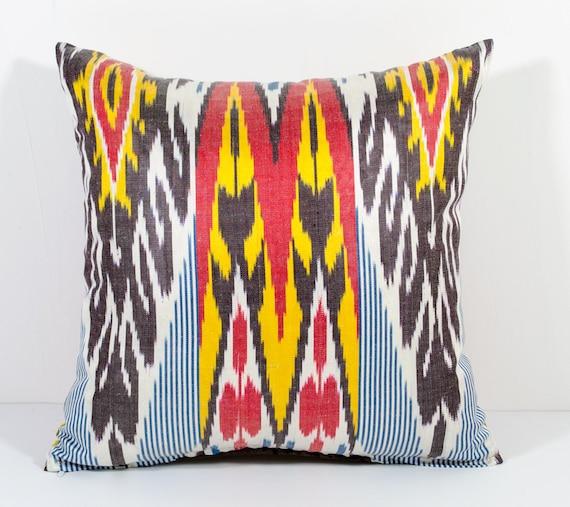 15x15 Throw Pillow Cover : 15x15 ikat pillow cover pink yellow red ikat cushion ikat