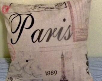 "PARIS PILLOW COVER - 17"" X 17"" - heavy cotton duck cloth fabric, zipper closure"