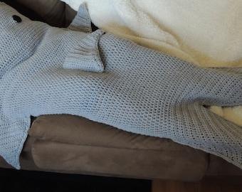 Grey Shark Attack! Crocheted Adult or Teen Blanket Leg Warmer Cozy With Footwarmer Fin