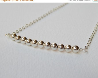 Sterling Silver Bar Necklace - Beadwork Necklace Beaded Bar Necklace Line Necklace
