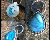 RESERVED Bright Blue Flash Labradorite Pendant Necklace in Sterling Silver with Moon Cutout
