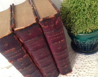 Set of 3 antique Waverly Novels. Guy Mannering, Woodstock & The Monastery by Sir Walter Scott. Vintage rustic prop. Distressed to perfection