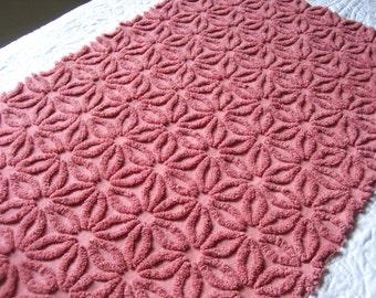 "Red Wine Hofmann Daisy Vintage Chenille Bedspread Fabric 19.5"" x 30"""