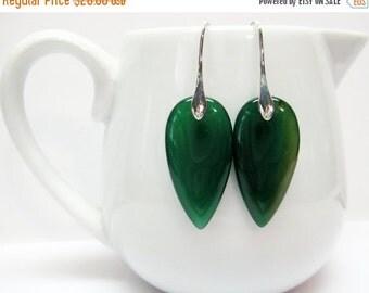 CIJ SALE Green Brazilian Agate Earrings - Green Teardrop Earrings - Dark Green Earrings - Chic - Fashion Jewelry - Gift For Her - Gemstone E