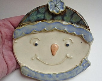 Ceramic Snowman Spoon Rest  Green and Midnight  Blue Cap and Scarf