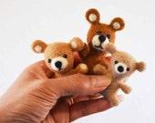 The Little Bears, needle felted animal fiber art sculpture