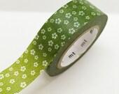 Japanese Green Swirly Flowers Washi Tape Masking Tape Pretty Tape