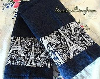 Custom Decorated Hand Towels -  Micheal Miller Fabric PARIS EIFFEL TOWER  - Black Hand Towels