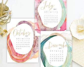 Instant. 5x7 2017 Agate & Watercolor Floral Printable Desk Calendar.  Instant Download.