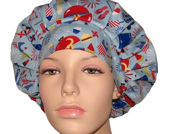Scrub Hats - Patriotic Summer Fun Things Red White and Blue