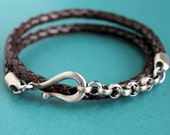 Leather and Silver Chain Bracelet, Mens Wrap Bracelet, Brown Leather Bracelet