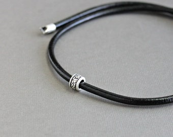 Mens Silver Bead Leather Cord Necklace, Mens Choker Necklace