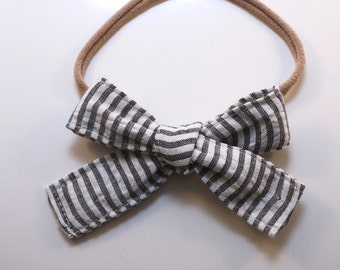 Petite Peanut Bitty Bow Headband - Gray and White Seersucker - Baby Girl Toddler - (Made to Order) -Spring Summer