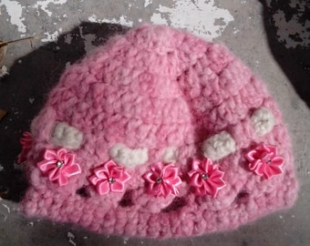 toddler girls hat, handmade, alpaca, pink with ribbon flowers