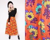 Vtg 60s 70s Dreamy Bright Orange Flower Hippie Boho High Slit Bathing Suit Cover Up Skirt M/L
